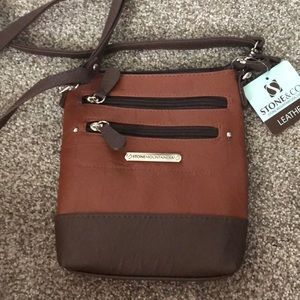 Two-toned leather cross body bag